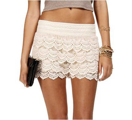 Lace Crochet Shorts White On Luulla